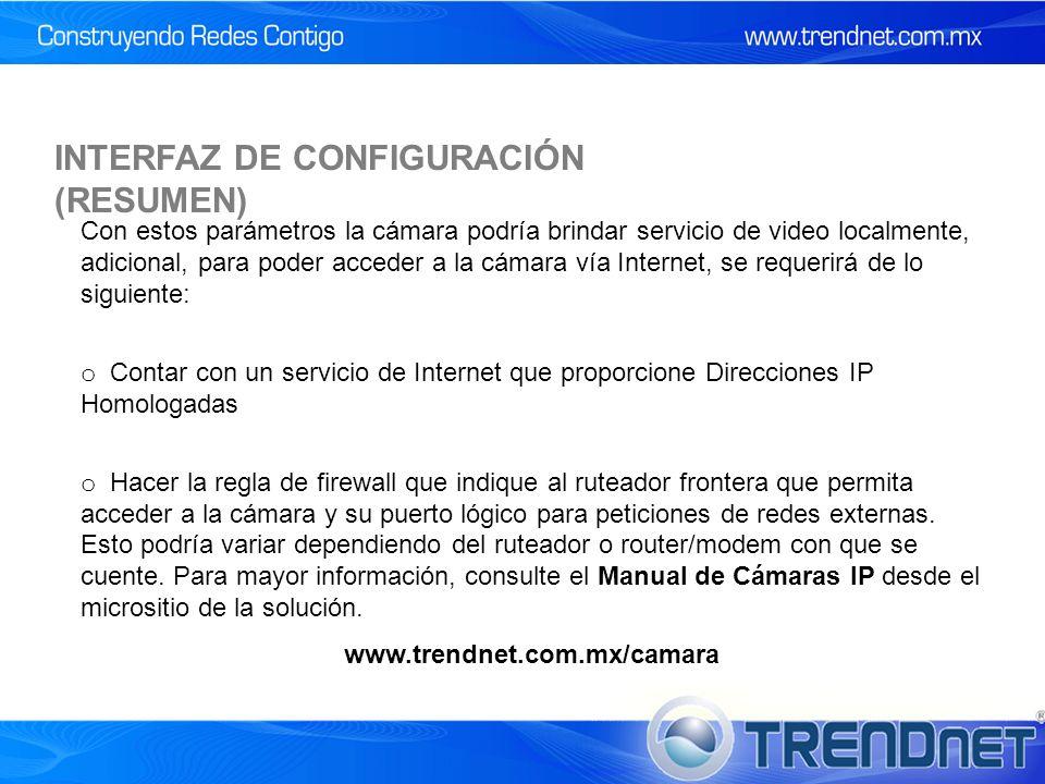 INTERFAZ DE CONFIGURACIÓN (RESUMEN)