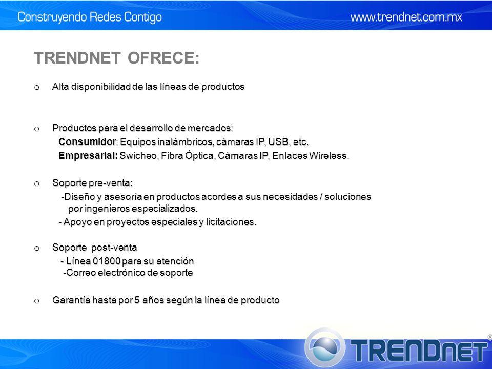 TRENDNET OFRECE: Alta disponibilidad de las líneas de productos