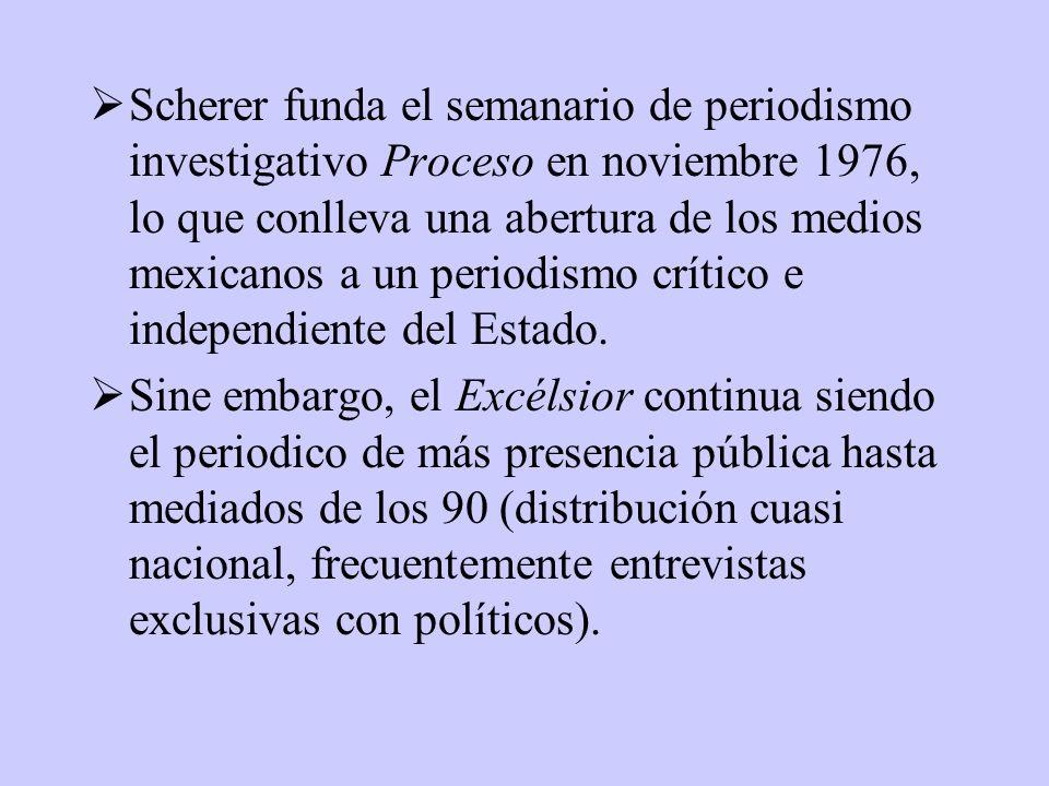 Scherer funda el semanario de periodismo investigativo Proceso en noviembre 1976, lo que conlleva una abertura de los medios mexicanos a un periodismo crítico e independiente del Estado.