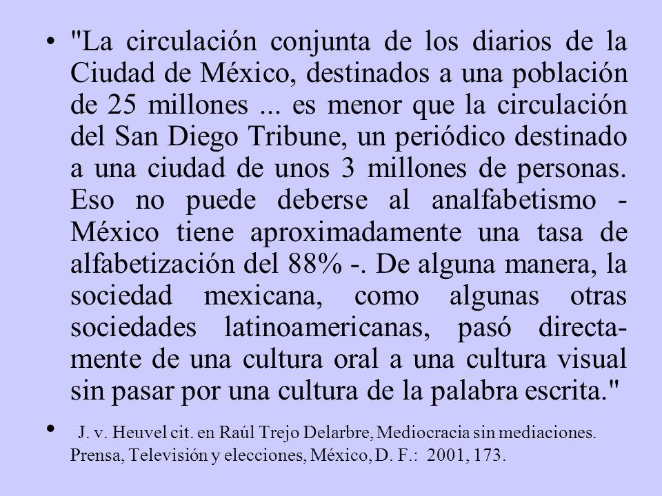 La circulación conjunta de los diarios de la Ciudad de México, destinados a una población de 25 millones ... es menor que la circulación del San Diego Tribune, un periódico destinado a una ciudad de unos 3 millones de personas. Eso no puede deberse al analfabetismo - México tiene aproximadamente una tasa de alfabetización del 88% -. De alguna manera, la sociedad mexicana, como algunas otras sociedades latinoamericanas, pasó directa-mente de una cultura oral a una cultura visual sin pasar por una cultura de la palabra escrita.