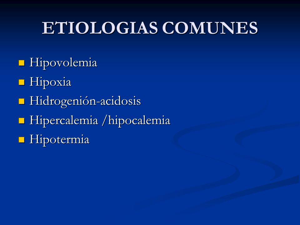 ETIOLOGIAS COMUNES Hipovolemia Hipoxia Hidrogenión-acidosis