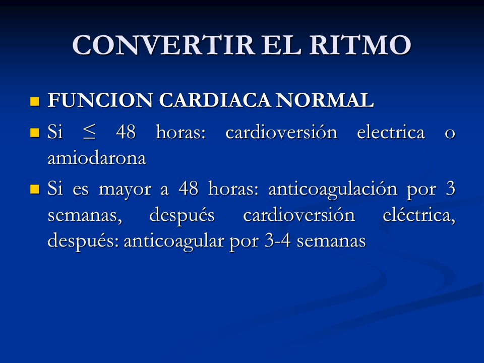 CONVERTIR EL RITMO FUNCION CARDIACA NORMAL