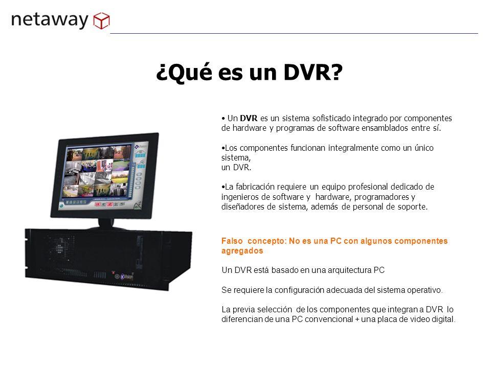 ¿Qué es un DVR Un DVR es un sistema sofisticado integrado por componentes de hardware y programas de software ensamblados entre sí.