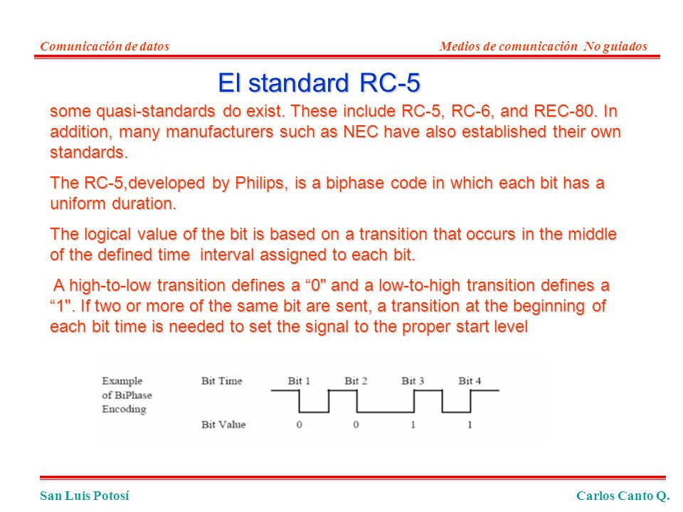 Comunicación de datos Medios de comunicación No guiados. El standard RC-5.