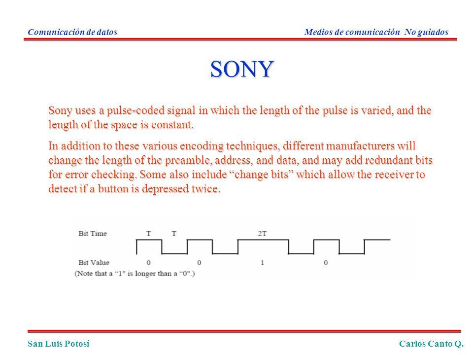 Comunicación de datos Medios de comunicación No guiados. SONY.