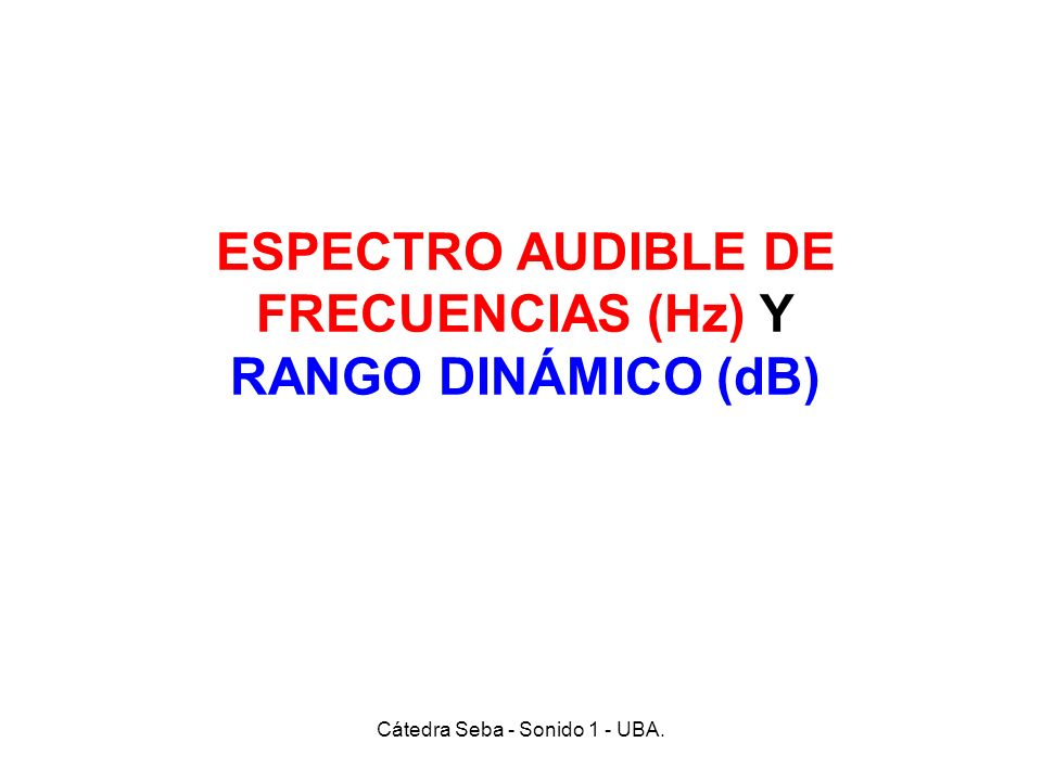 ESPECTRO AUDIBLE DE FRECUENCIAS (Hz) Y RANGO DINÁMICO (dB)