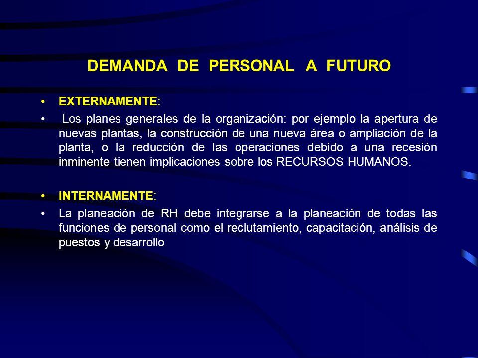 CAUSAS EXTERNAS E INTERNAS QUE PROVOCAN DEMANDA DE PERSONAL A FUTURO