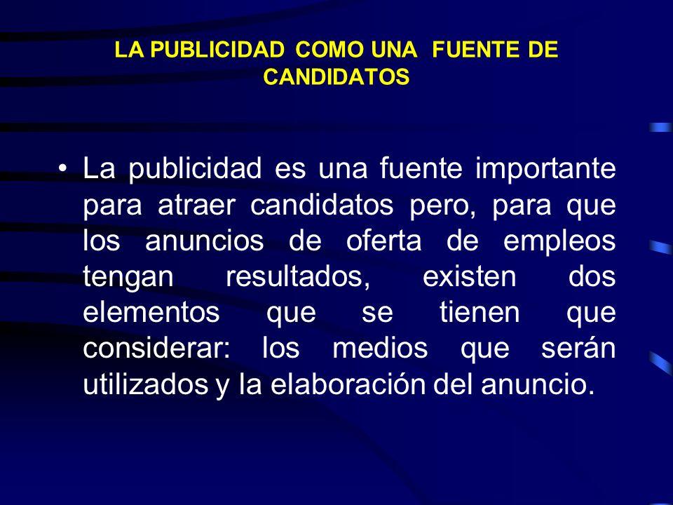 LA PUBLICIDAD COMO UNA FUENTE DE CANDIDATOS