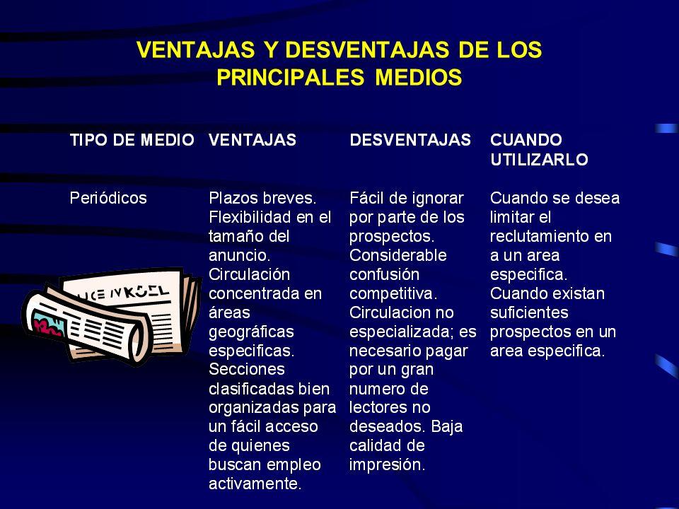 VENTAJAS Y DESVENTAJAS DE LOS PRINCIPALES MEDIOS