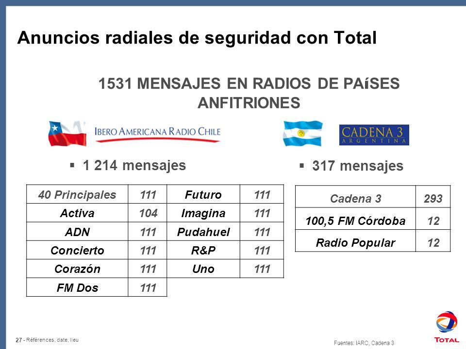 Anuncios radiales de seguridad con Total