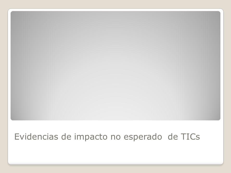Evidencias de impacto no esperado de TICs