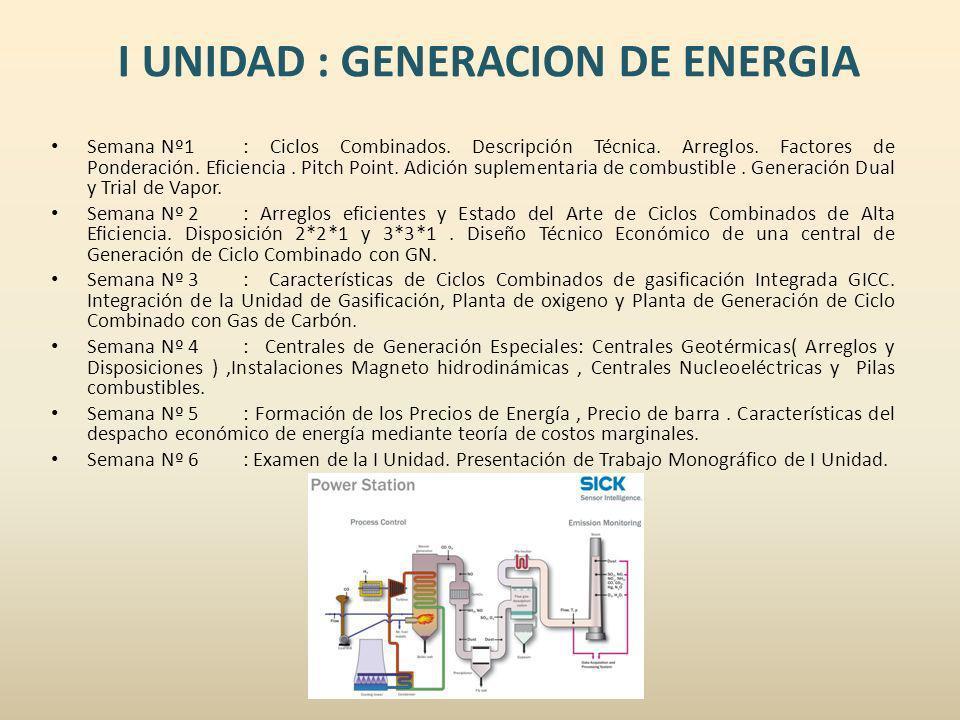 I UNIDAD : GENERACION DE ENERGIA