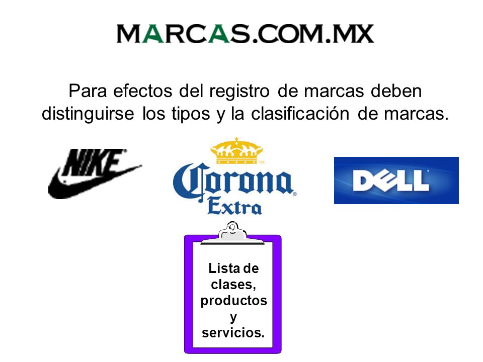 Lista de clases, productos y servicios.