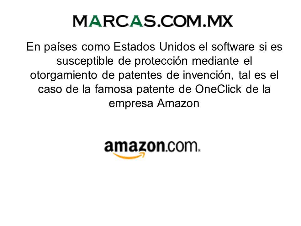 En países como Estados Unidos el software si es susceptible de protección mediante el otorgamiento de patentes de invención, tal es el caso de la famosa patente de OneClick de la empresa Amazon