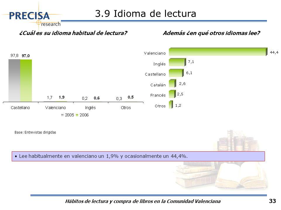 3.9 Idioma de lecturaAlgo más de las tres cuartas partes de lectores de la Comunidad Valenciana leen en valenciano, o podrían hacerlo un 79,3%: