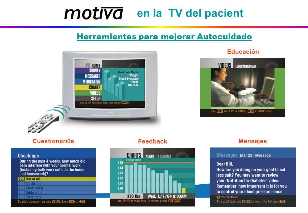 en la TV del pacient Herramientas para mejorar Autocuidado Educación