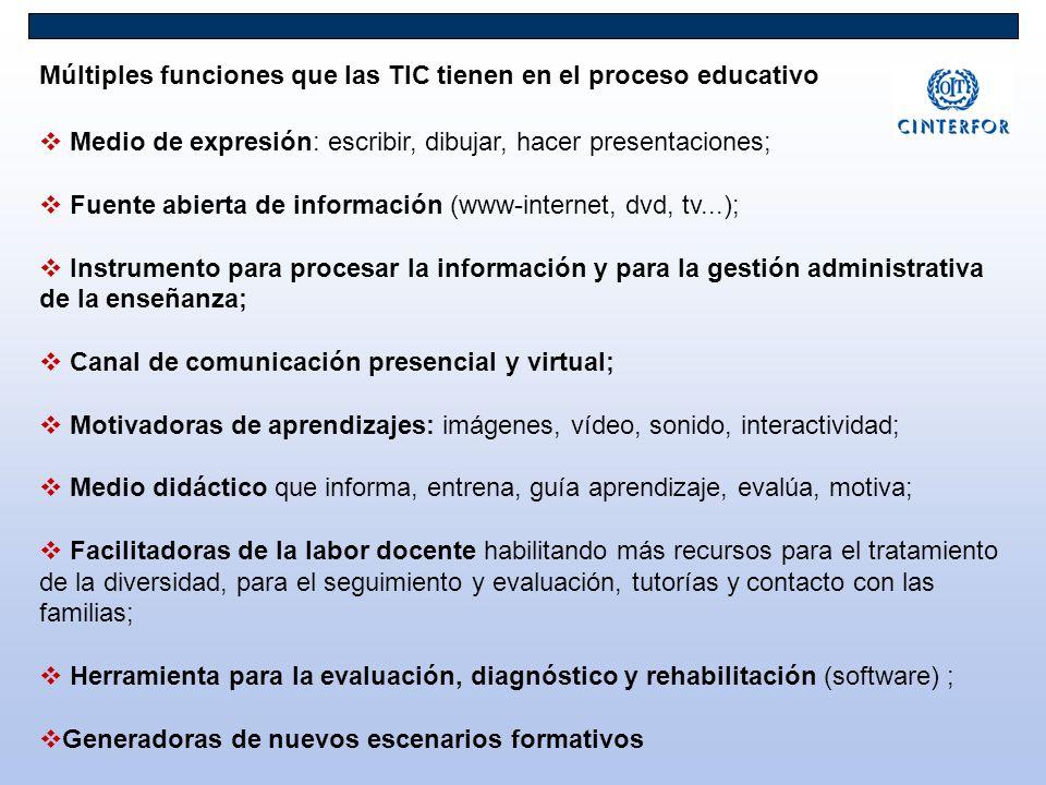 Múltiples funciones que las TIC tienen en el proceso educativo