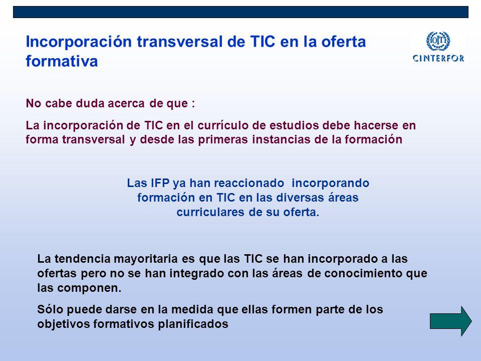 Incorporación transversal de TIC en la oferta formativa