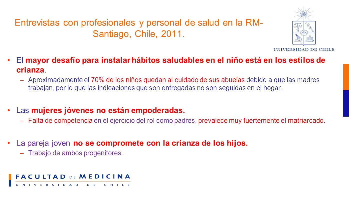 Entrevistas con profesionales y personal de salud en la RM-Santiago, Chile, 2011.