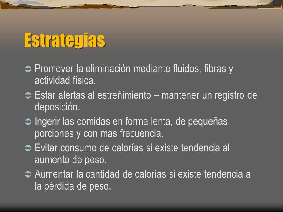 Estrategias Promover la eliminación mediante fluidos, fibras y actividad física.