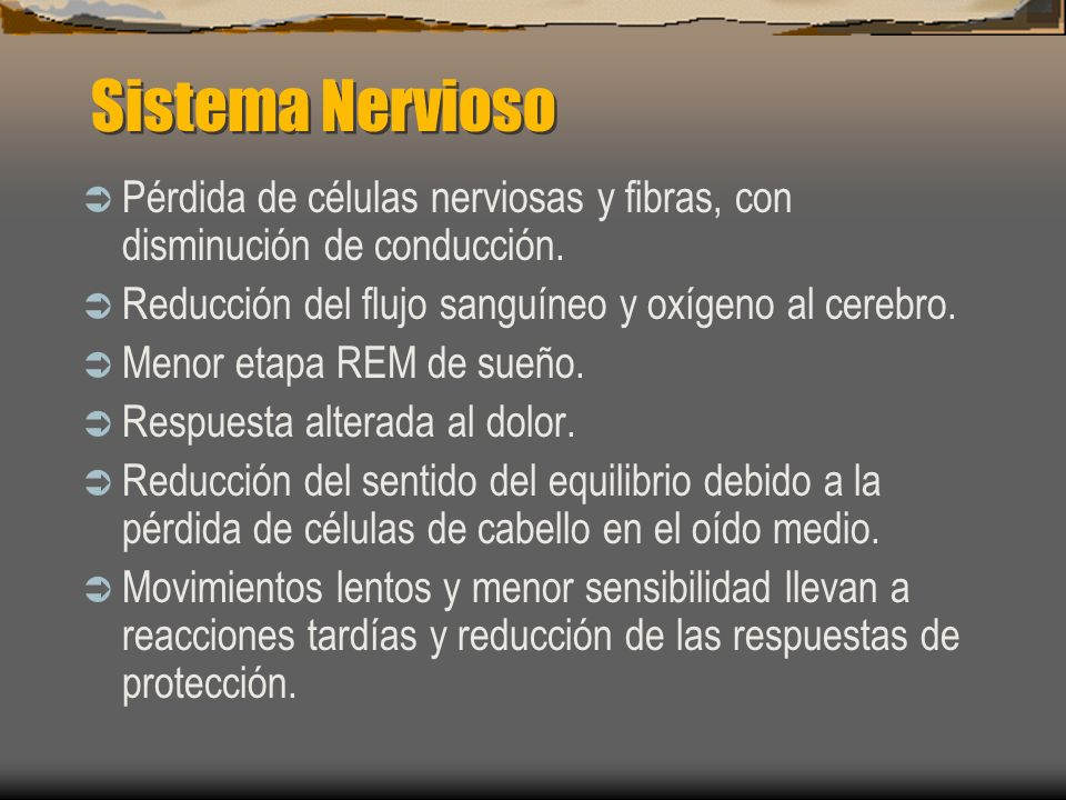 Sistema Nervioso Pérdida de células nerviosas y fibras, con disminución de conducción. Reducción del flujo sanguíneo y oxígeno al cerebro.