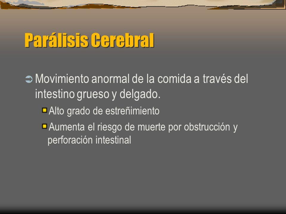 Parálisis Cerebral Movimiento anormal de la comida a través del intestino grueso y delgado. Alto grado de estreñimiento.