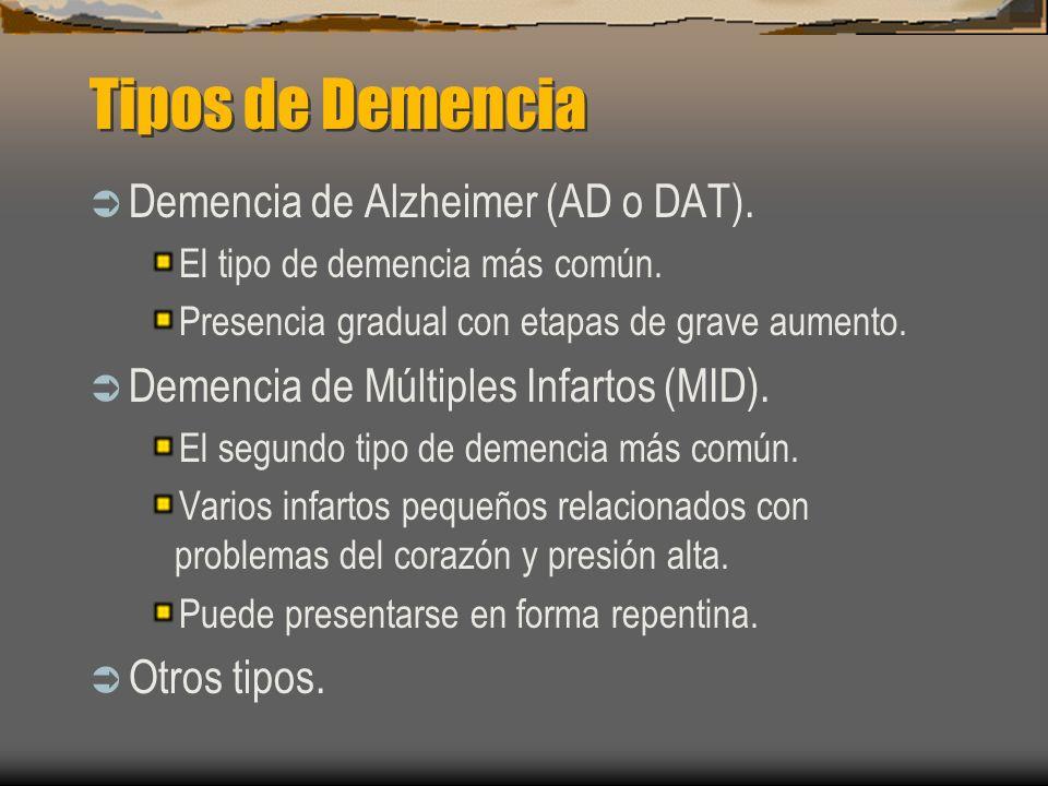 Tipos de Demencia Demencia de Alzheimer (AD o DAT).