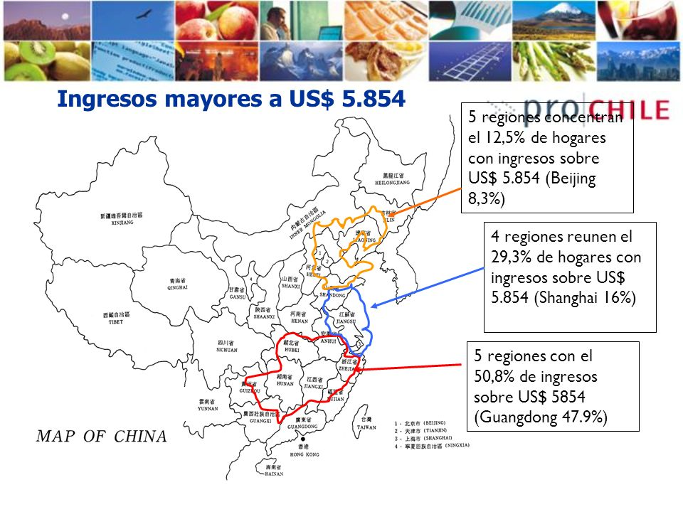 Ingresos mayores a US$ 5.854 5 regiones concentran el 12,5% de hogares con ingresos sobre US$ 5.854 (Beijing 8,3%)