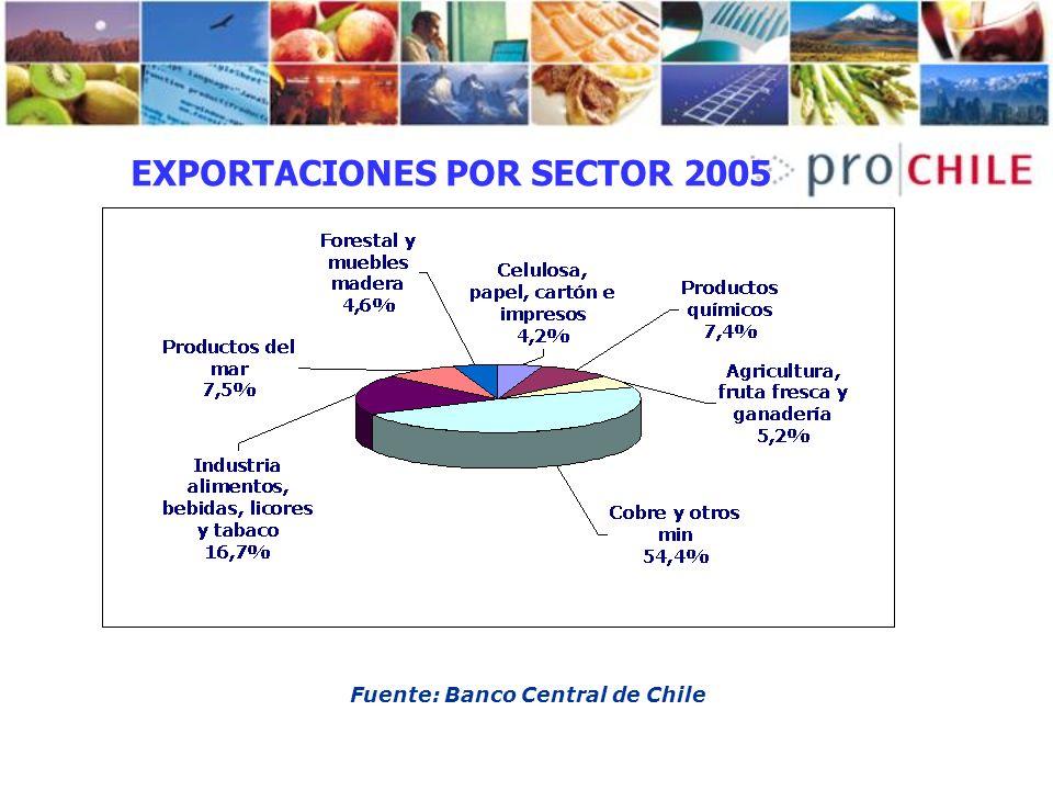 EXPORTACIONES POR SECTOR 2005