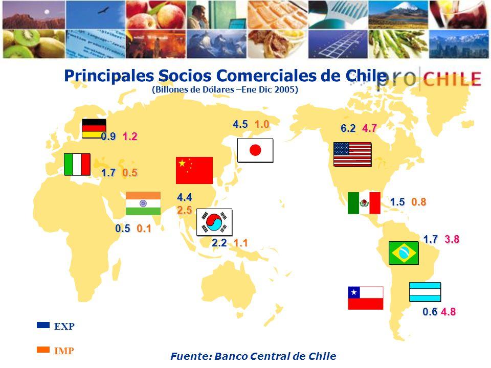 Principales Socios Comerciales de Chile (Billones de Dólares –Ene Dic 2005)