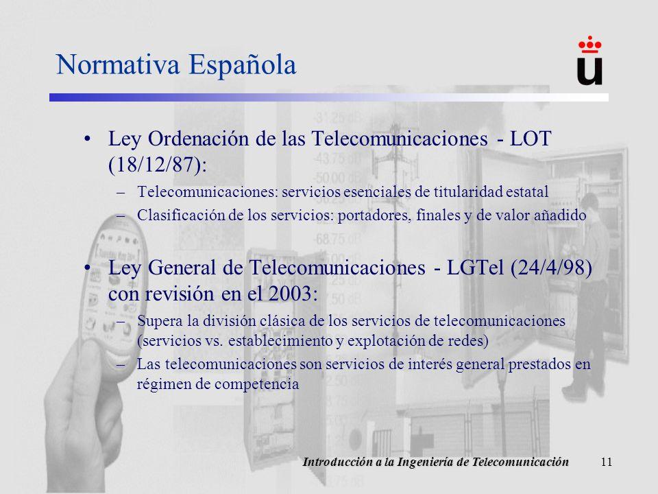 Normativa Española Ley Ordenación de las Telecomunicaciones - LOT (18/12/87): Telecomunicaciones: servicios esenciales de titularidad estatal.