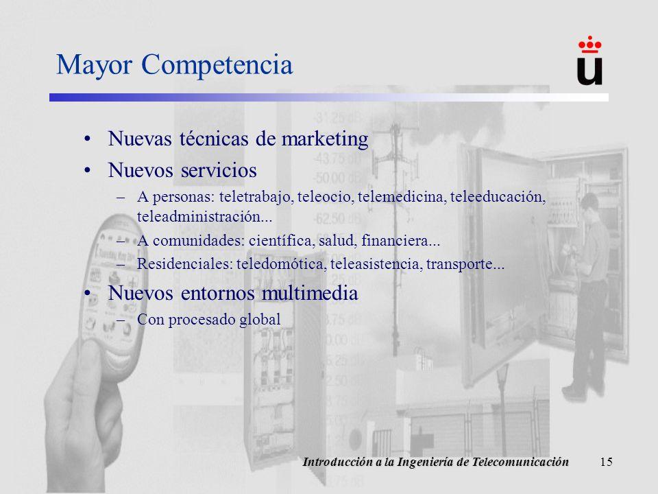 Mayor Competencia Nuevas técnicas de marketing Nuevos servicios