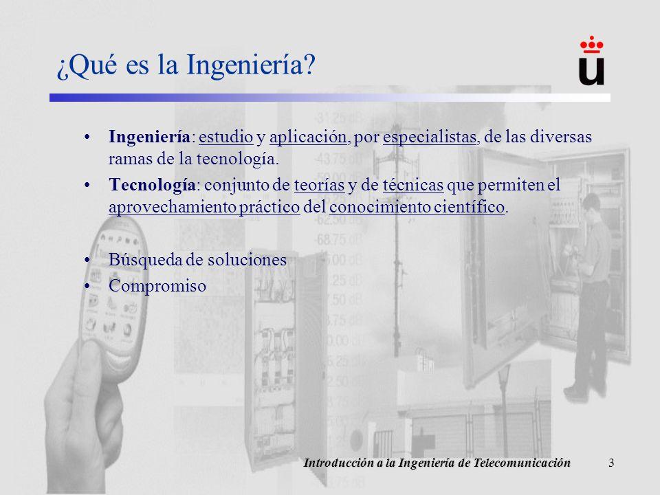 ¿Qué es la Ingeniería Ingeniería: estudio y aplicación, por especialistas, de las diversas ramas de la tecnología.
