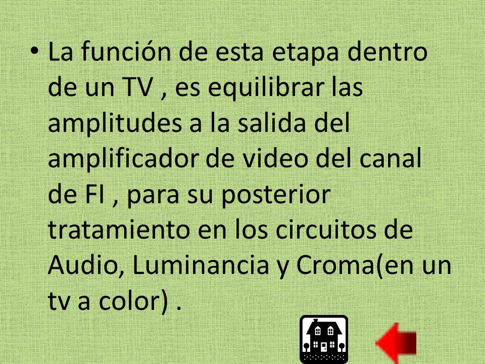 La función de esta etapa dentro de un TV , es equilibrar las amplitudes a la salida del amplificador de video del canal de FI , para su posterior tratamiento en los circuitos de Audio, Luminancia y Croma(en un tv a color) .