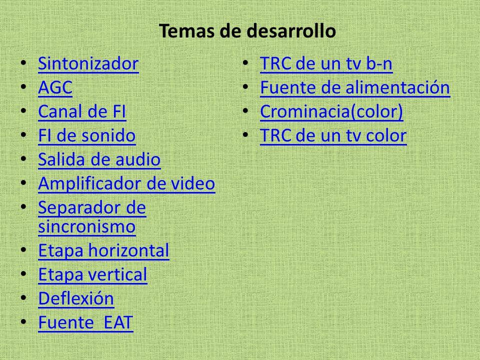 Temas de desarrollo Sintonizador TRC de un tv b-n AGC