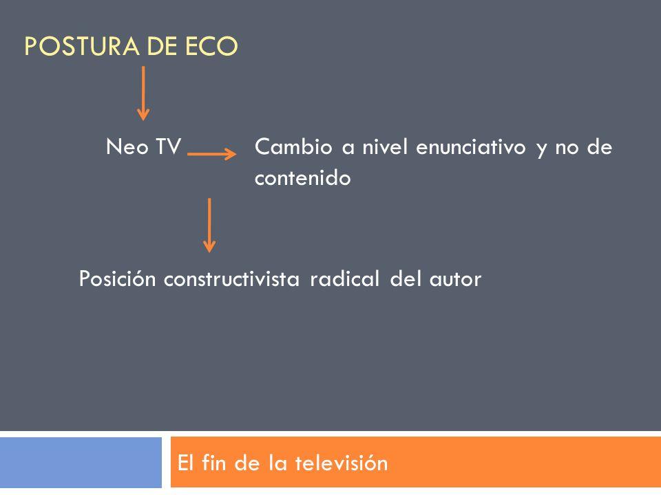 Postura de Eco Neo TV Cambio a nivel enunciativo y no de contenido