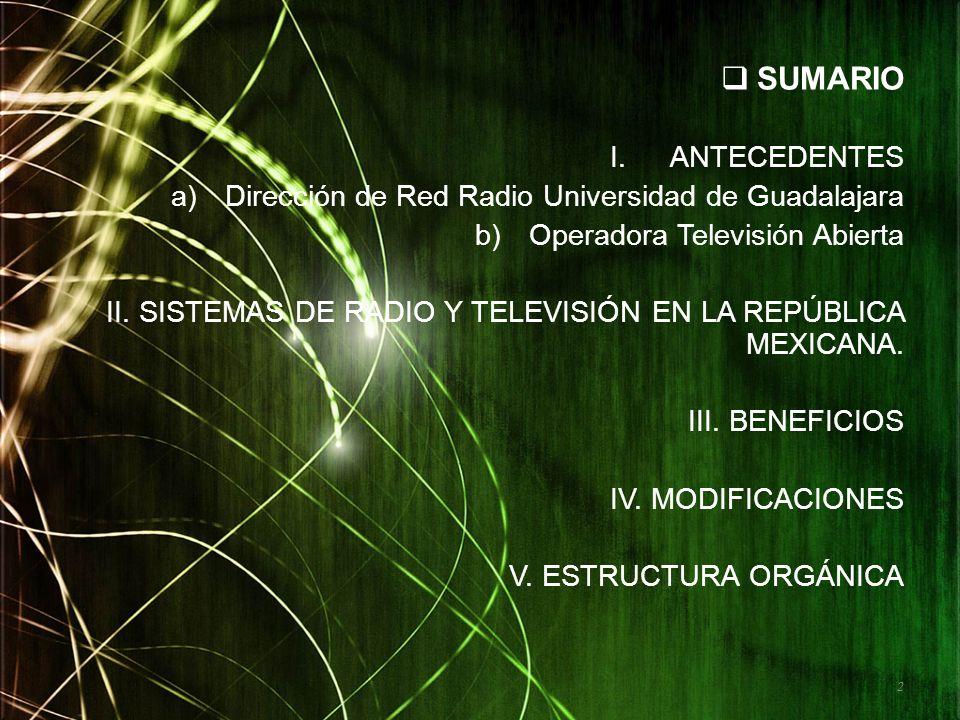 SUMARIO ANTECEDENTES Dirección de Red Radio Universidad de Guadalajara