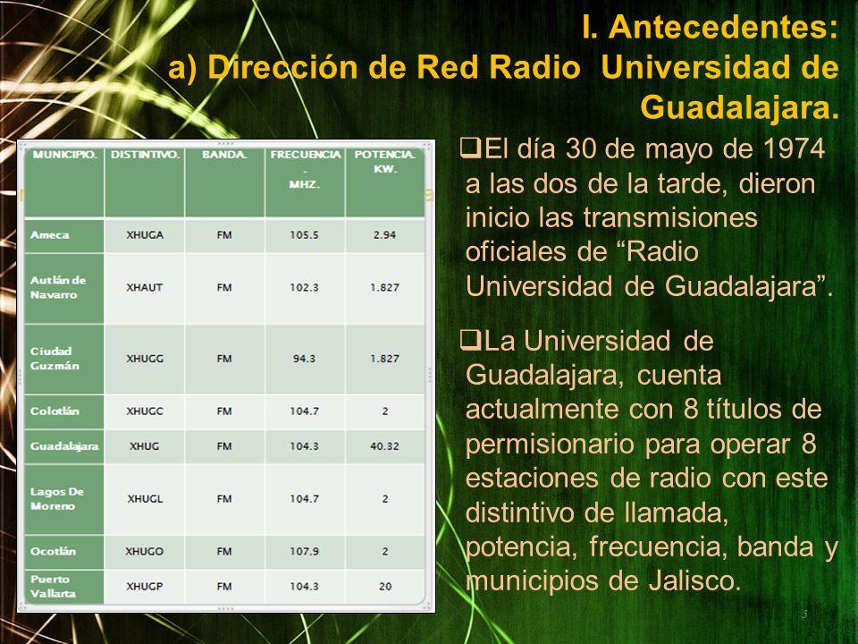 I. Antecedentes: a) Dirección de Red Radio Universidad de Guadalajara.