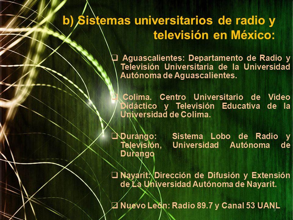 b) Sistemas universitarios de radio y televisión en México: