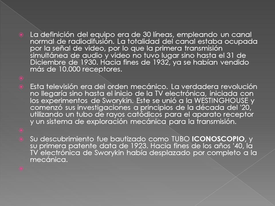 La definición del equipo era de 30 líneas, empleando un canal normal de radiodifusión. La totalidad del canal estaba ocupada por la señal de video, por lo que la primera transmisión simultánea de audio y video no tuvo lugar sino hasta el 31 de Diciembre de 1930. Hacia fines de 1932, ya se habían vendido más de 10.000 receptores.