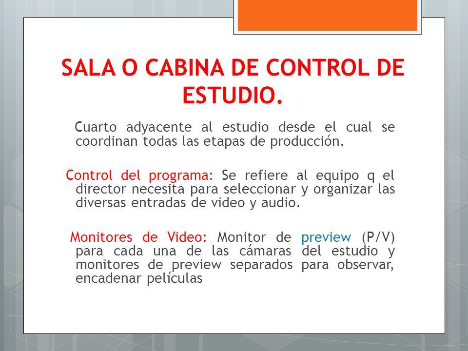 SALA O CABINA DE CONTROL DE ESTUDIO.