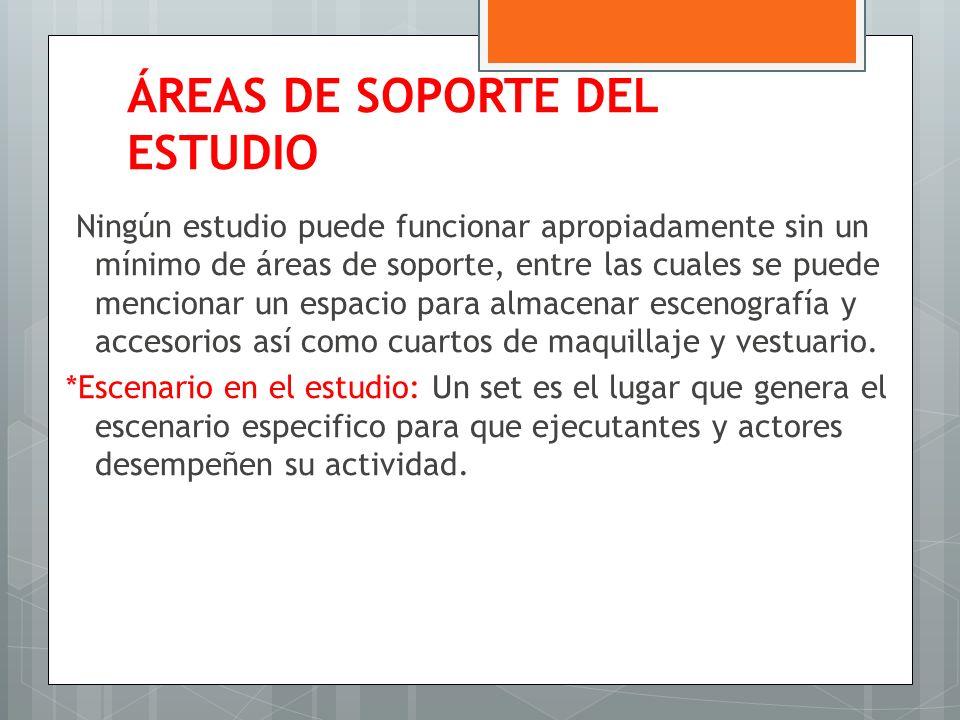 ÁREAS DE SOPORTE DEL ESTUDIO