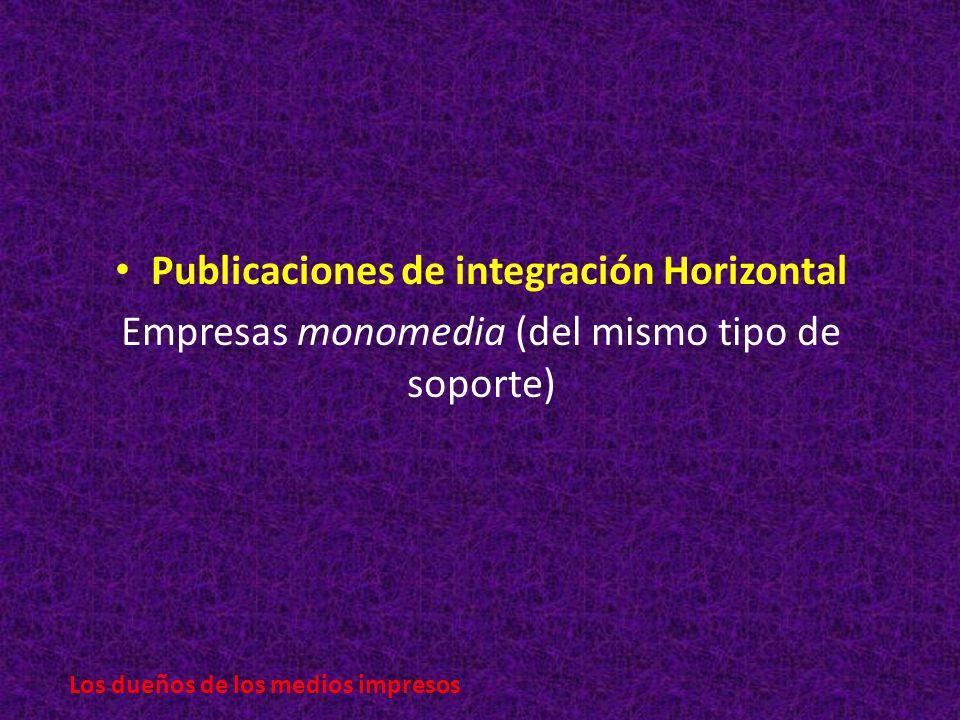 Publicaciones de integración Horizontal