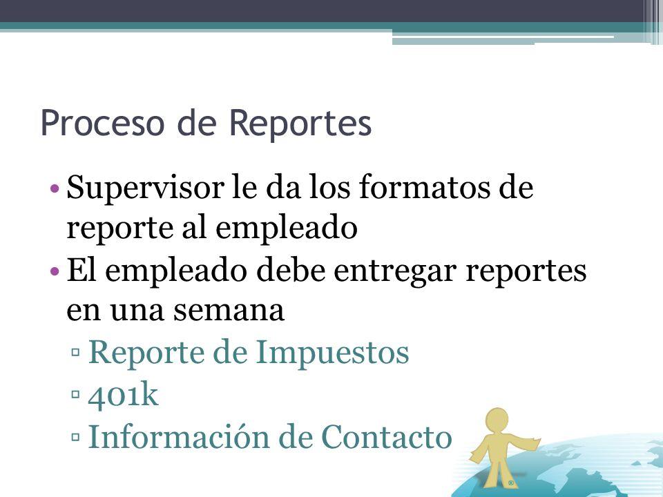 Proceso de Reportes Supervisor le da los formatos de reporte al empleado. El empleado debe entregar reportes en una semana.