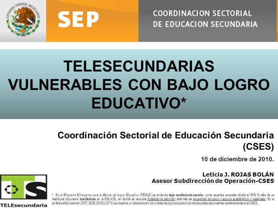 TELESECUNDARIAS VULNERABLES CON BAJO LOGRO EDUCATIVO*