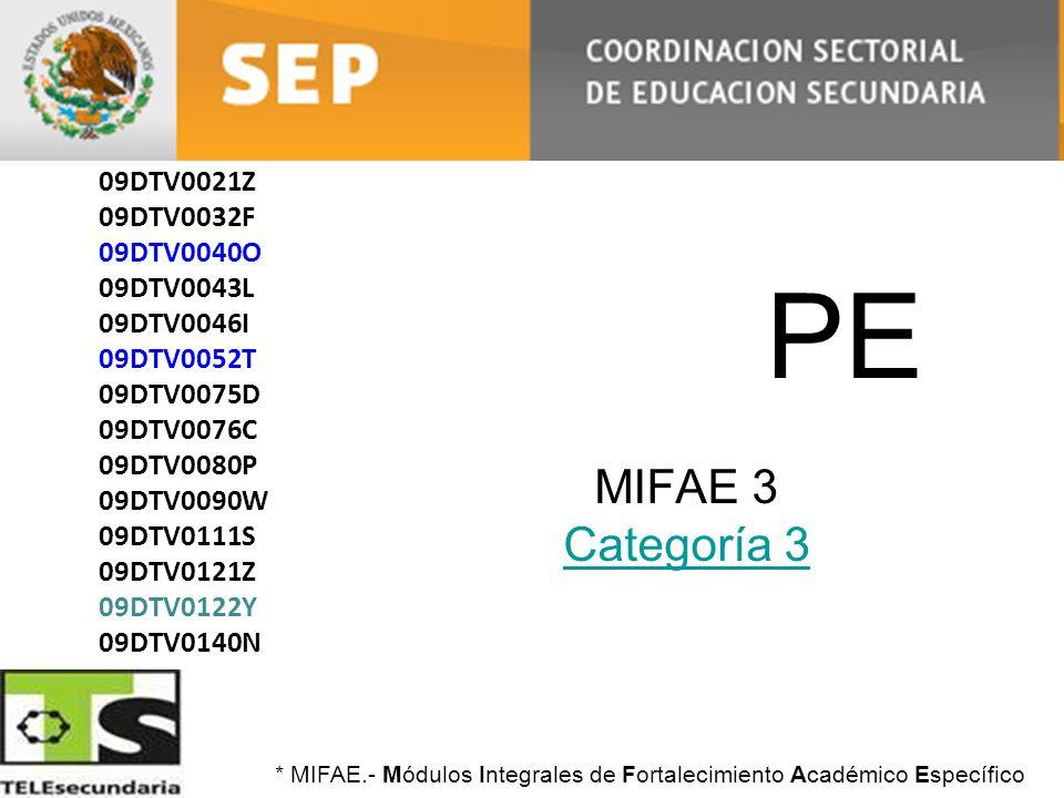 PE MIFAE 3 Categoría 3 09DTV0004J 09DTV0021Z 09DTV0032F 09DTV0040O