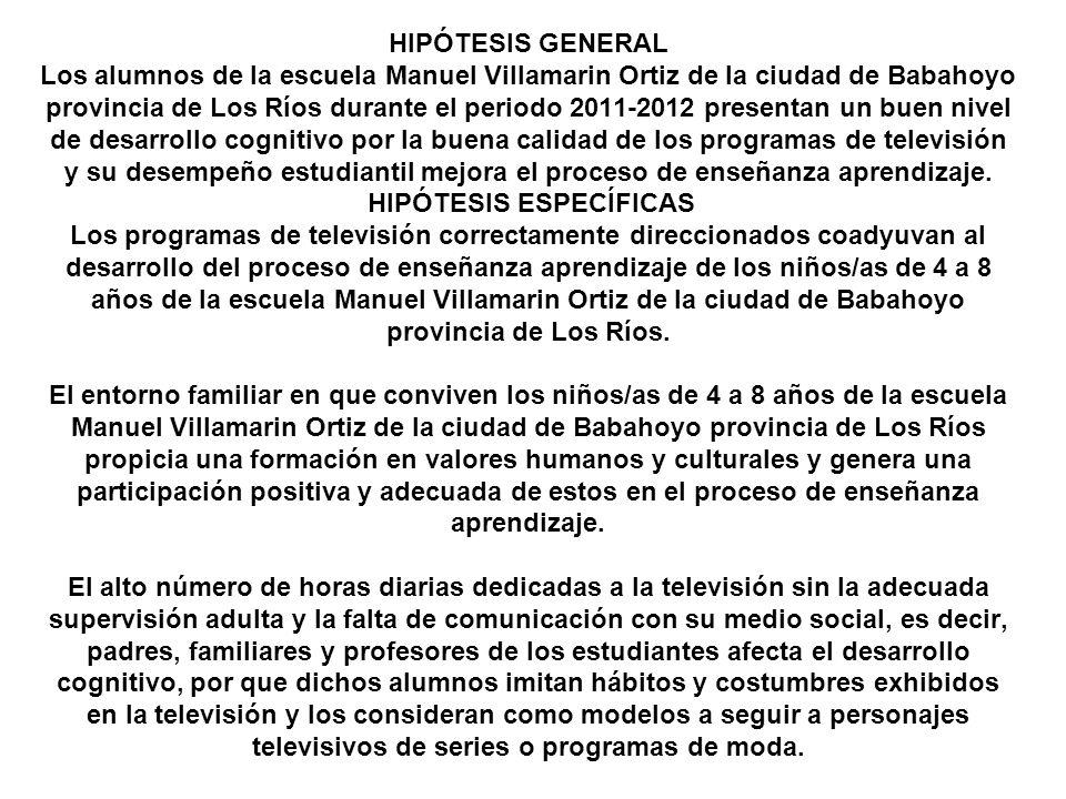 HIPÓTESIS GENERAL Los alumnos de la escuela Manuel Villamarin Ortiz de la ciudad de Babahoyo provincia de Los Ríos durante el periodo 2011-2012 presentan un buen nivel de desarrollo cognitivo por la buena calidad de los programas de televisión y su desempeño estudiantil mejora el proceso de enseñanza aprendizaje.