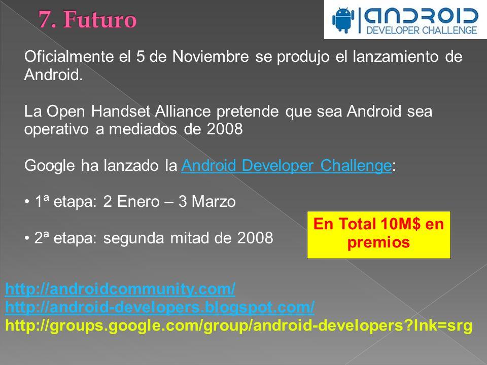 7. Futuro Oficialmente el 5 de Noviembre se produjo el lanzamiento de Android.