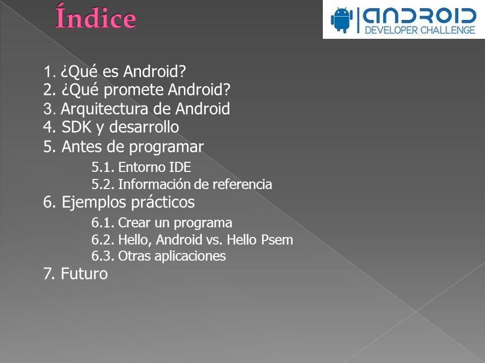 Índice 1. ¿Qué es Android 2. ¿Qué promete Android