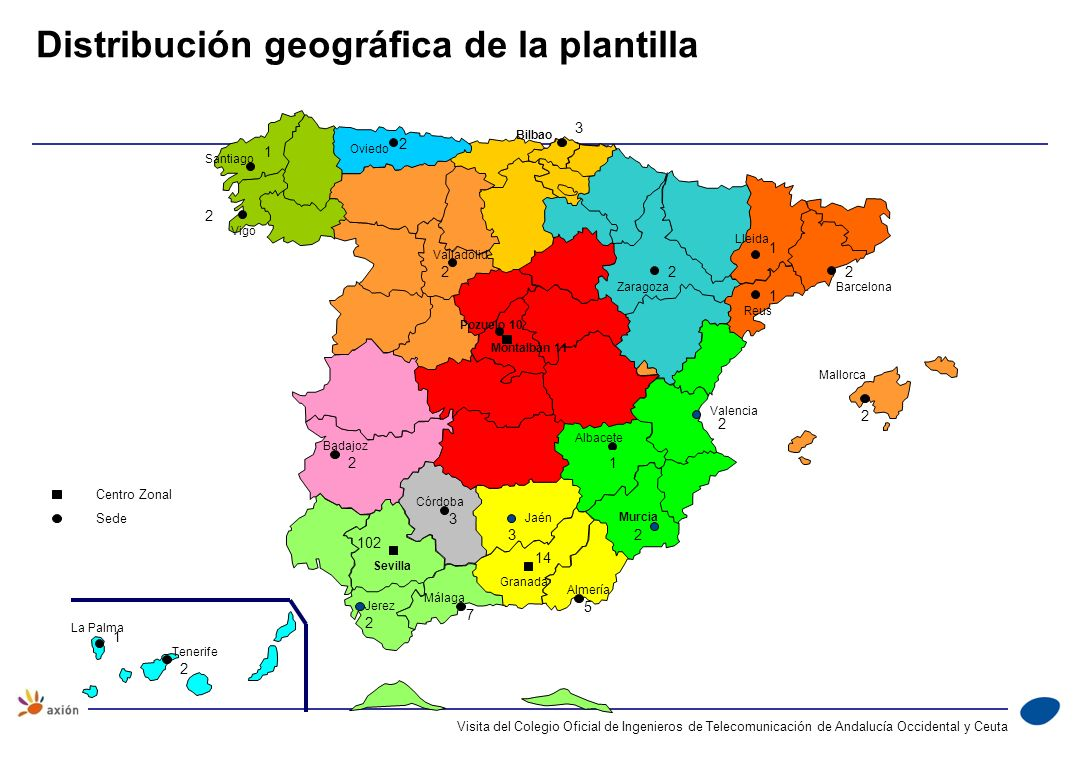 Distribución geográfica de la plantilla